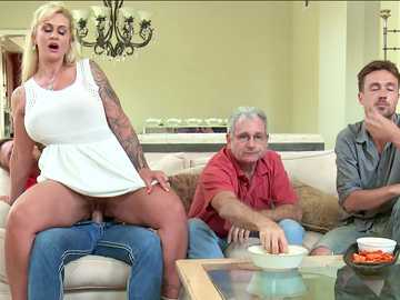 Big tits horny wife Ryan Conner seducing her stepson sitting right beside her husband