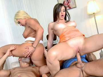 Christina Shine and Nekane riding dicks in a fantastic group sex scene