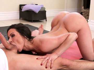 Craving brunette mom Kendra Lust fiddles with the cum-stick of her son's friend
