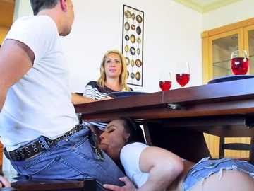 Teen Aidra Fox dives under the dinner table for balls licking and deepthroat