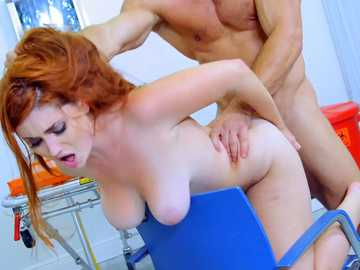 Milky-skinned red-head girl with juicy tits is rammed front behind and then swallows dick