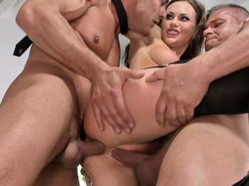 Capricious babe Tina Kay finally gets two dicks for double penetration treatment