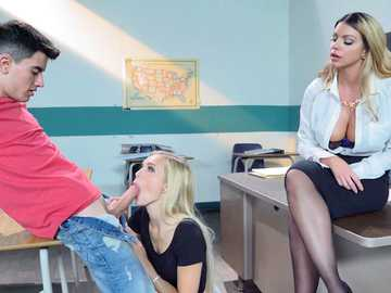 Alex Grey and her buddy have sexual after class affair with Brooklyn Chase