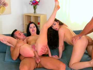 Cassie Right and Leyla Bentho have fun with two hard-on fellows