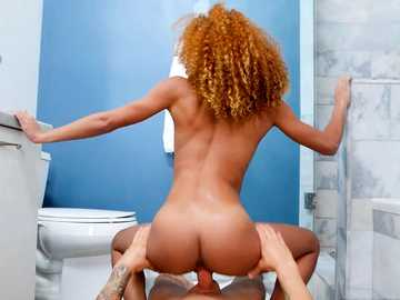 Smutty chocolate chick Kendall Woods eats and fucks stranger's penis in the shower room