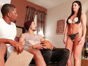 Interracial threesome with hot MILF India Summer gets the mature stuffed